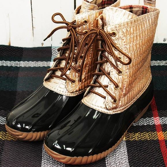 61b26f594bb5 Yoki Rose Gold Metallic duck Boots (RUNS SMALL)